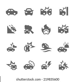 Simple Set of Car Crashes Related Vector Icons for Your Design.