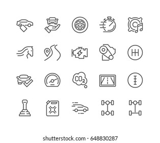 Simple Set of Car Features Related Vector Line Icons.  Contains such Icons as Car Price Tag, Specifications, Fuel, Transmission Type and more. Editable Stroke. 48x48 Pixel Perfect.