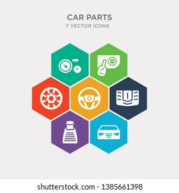 simple set of car headlight, car headrest, car hood, horn icons, contains such as icons hubcap, ignition, indicator and more. 64x64 pixel perfect. infographics vector