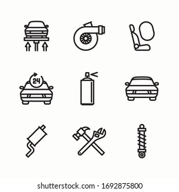 Simple Set of Car Repair Related Vector Icons. Line with Editable stroke