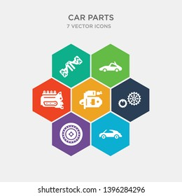 simple set of car soft top, car spare wheel, car sprocket, starter icons, contains such as icons sump, sunroof or sunshine roof, suspension and more. 64x64 pixel perfect. infographics vector