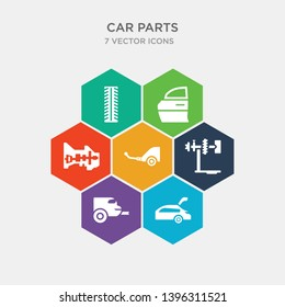 simple set of car tailgate, car tailpipe, car torsion bar, towbar icons, contains such as icons transmission, trim, tyre and more. 64x64 pixel perfect. infographics vector