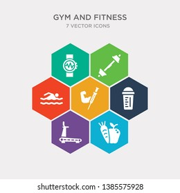 simple set of carrot and apple, running treadmill, protein shake, steroids icons, contains such as icons man swimming, lifting barbell, fitness bracelet and more. 64x64 pixel perfect. infographics