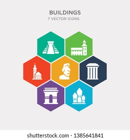 simple set of cathedral of saint basil, arc de triomphe, greece, rapa nui icons, contains such as icons lake bled, odense, chichen itza and more. 64x64 pixel perfect. infographics vector