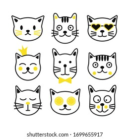 Simple Set of Cats Design. Line kitten vector icons.