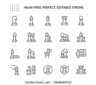 Simple Set of Chess Related Vector Line Icons. Contains such Icons as Queen, Strategy, Checkmate and more. Editable Stroke. 48x48 Pixel Perfect.