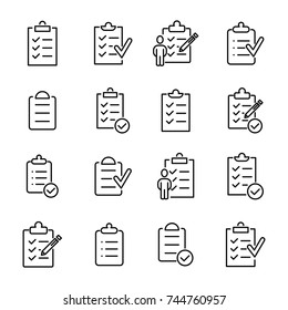 Simple set of clipboard related outline icons. Elements for mobile concept and web apps. Thin line vector icons for website design and development, app development. Premium pack.