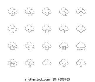 Simple set of Cloud computing vector line web icons. Contains such Icons as Data upload, Data synchronization, Cloud service and more. Editable Stroke. 48x48 Pixel Perfect.