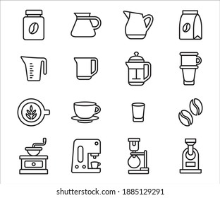 Simple Set of coffee and barista shop Related Vector icon user interface graphic design. Contains such Icons as coffee bean, jar, measure jug, server, french press, vietnam drip, syphon, roaster