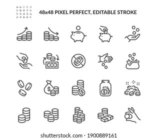 Simple Set of Coins Related Vector Line Icons. Contains such Icons as Coins Stack and Donation, Tips Jar and more. Editable Stroke. 48x48 Pixel Perfect.