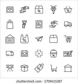 Simple set of commerce icons in trendy line style. Modern vector symbols, isolated on a white background. Linear pictogram pack. Line icons collection for web apps and mobile concept.