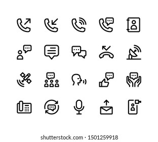 Simple Set of Communication Related Vector Line Icons. Contains such Icons as telephone, message, speaking, calling and More. pixel perfect vector icons based on 32px grid. Editable Strokes