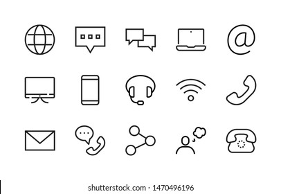 Simple Set of Communication Vector Line Icons. Contains such Icons as Globe, Chat Bubbles, Laptop, Mail, Monitor, Smartphone, Headphones, Wi-Fi, Phone, Share and more. Editable Stroke. 48x48 pixels.