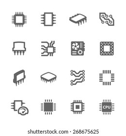 Simple Set of Computer Chips Related Vector Icons for Your Design. - Shutterstock ID 268675625