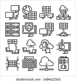 Simple Set of Computer Network Related Vector Line Icons