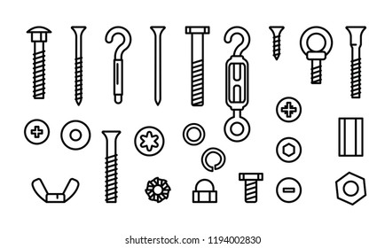 Simple set construction hardware vector line icons. Screws, bolts, nuts and rivets. Equipment stainless, fasteners, metal fixation gear, vector illustration