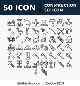 Simple Set of Construction Related Vector Line Icons. Editable Stroke.