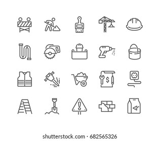 Simple Set of Construction Related Vector Line Icons.  Editable Stroke. 48x48 Pixel Perfect.