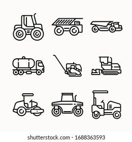 Simple Set Construction Vector line Icons