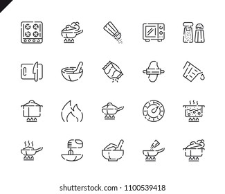 Simple Set Cooking Line Icons for Website and Mobile Apps. Contains such Icons as Food, Boiling, Flavoring, Saucepan, Bake, Blending. 48x48 Pixel Perfect. Vector illustration.