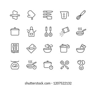 Simple Set of Cooking Related Vector Line Icons. Contains such Icons as Kitchen Utensils, Boiling and Frying Time, Cookbook and more.\nEditable Stroke. 48x48 Pixel Perfect.