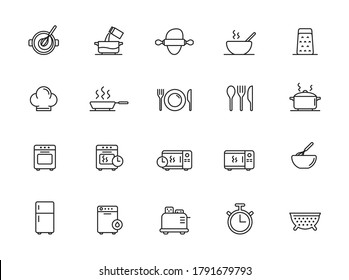 Simple Set of Cooking Related Vector Line Icons. Contains such Icons as Kitchen Utensils, Boiling and Frying Time, Cookbook and more. Editable Stroke.