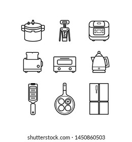 Simple Set of Cooking Tool icons. Contains icons as rice pot, wine opener, toaster, oven, cheese grater, frying pan, refrigerator and more.