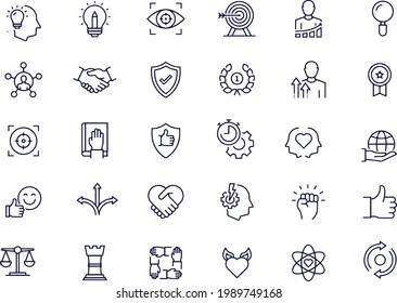 Simple Set of Core Values Related Vector Line Icons vector design