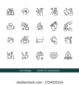 Simple Set of Coronavirus Cleaning Icons Vector Graphics Design. The Icons of Gallon and Bottle of Alcohol, Cleaning cloth,  Alcohol Spray, Sanitizer, Wet Tissue, Gloves, Washing Hands, Broom and Mask