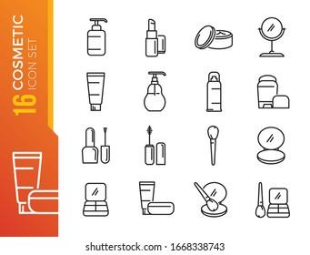 化粧品関連のベクター線アイコンの簡単なセット。クリームボトル、口紅、化粧ブラシなどのアイコンが含まれます