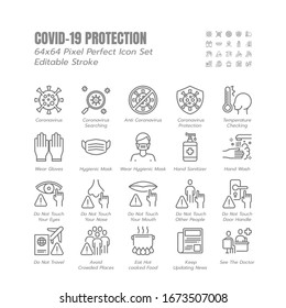 Simple Set of Covid-19 Protection Line Outline Icons. such Icons as Mask, Gloves, Coronavirus Prevention, Hygienic, Avoid Close Contact, Social Distancing etc. 64x64 Pixel Perfect. Editable Stroke.