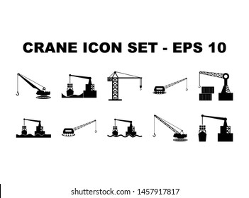 Simple Set of Crane, Construction and  Loading of goods for trade and export impor in the harbor related vector glyph icons. Contain such Icons crane, harbor, vessel.- vector