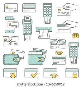 Simple Set of Credit Card Related Vector Line Icons. Contains such Icons as Chip, Register, Safe Payment, Cash and more