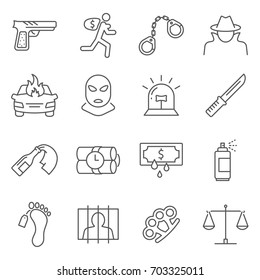 Simple Set of crime Related Vector Line Icons. Contains such Icons as felony, offence, murder, theft, prison, police and more.