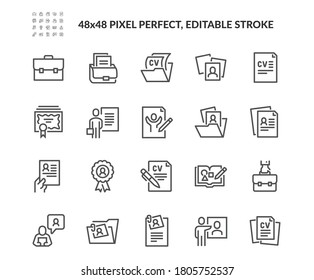 Simple Set of CV and Resume and Self Presentation Related Vector Line Icons. Contains such Icons as Portfolio, Diploma, Sketch Book and more. Editable Stroke. 48x48 Pixel Perfect.