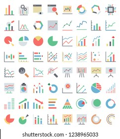 Simple Set of Data Analysis Related color Vector Line Icons