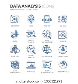 Simple Set of Data Analysis Related Vector Line Icons. Contains such Icons as Big Data, Processing, Performance and more. Editable Stroke. 64x64 Pixel Perfect.