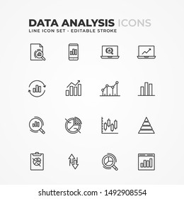 Simple Set of Data Analysis Related Vector Line Icons. Editable Stroke