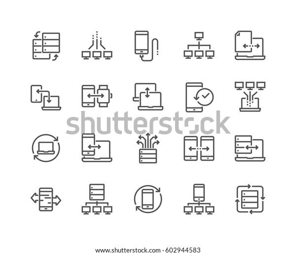 Einfache Set von Vektorliniensymbolen zum Datenaustausch.  Enthält solche Symbole wie z.B. Telefonabsicherung, Datenverkehr, Synchronisierung und mehr.  Bearbeitbarer Stroke.