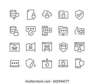 Simple Set of Data Security Related Vector Line Icons.  Contains such Icons as Firewall, Pirate Flag, Web Spider, Password and more. Editable Stroke.
