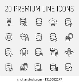 Simple set of database related outline icons. Elements for mobile concept and web apps. Thin line vector icons for website design and development, app development. Premium pack