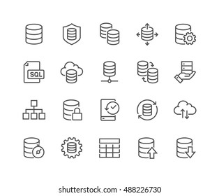 Simple Set of Database Related Vector Line Icons.  Contains such Icons as Backup, Structure, Data Transfer and more. Editable Stroke. 48x48 Pixel Perfect.