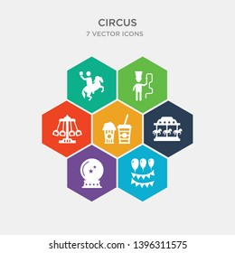 simple set of decoration, magic ball, merry go round, pop corn icons, contains such as icons ride, ringmaster, rodeo and more. 64x64 pixel perfect. infographics vector