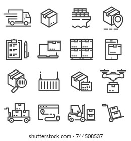 Simple set delivery line icons. Vector illustrations