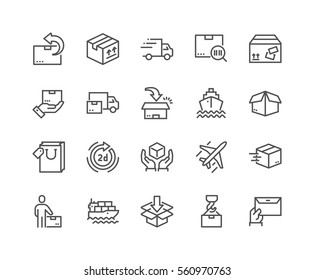 Simple Set of Delivery Related Vector Line Icons.  Contains such Icons as Priority Shipping, Express Delivery, Tracking Order and more. Editable Stroke. 48x48 Pixel Perfect.