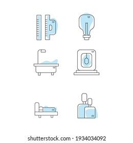 Simple set of design apartment or repair. Vector line icons with blue spots.
