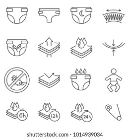 Simple Set of diaper Related Vector Line Icons. Contains such Icons as infant, newborn, maternity, panties, impermeability, moisture resistance and more.