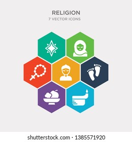 simple set of dipa, diet, feet, bindi icons, contains such as icons rosary, islam, holy star and more. 64x64 pixel perfect. infographics vector