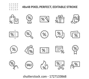 Simple Set of Discount Related Vector Line Icons. Contains such Icons as Coupon, Ribbon with Percent Sign, Discount Code and more. Editable Stroke. 48x48 Pixel Perfect.