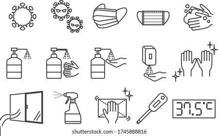 Simple Set of Disinfection and Cleaning Related Vector Line Icons. Contains such Icons as Masks, Washing Hands, Sterilization.